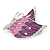 Pink/ Purple Enamel AB crystal Butterfly Brooch In Rhodium Plated Metal - 45mm - view 2