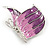 Pink/ Purple Enamel AB crystal Butterfly Brooch In Rhodium Plated Metal - 45mm - view 3