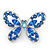 Small Blue Crystal Butterfly Brooch In Rhodium Plated Metal - 35mm L