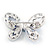 Small Blue Crystal Butterfly Brooch In Rhodium Plated Metal - 35mm L - view 4