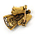 Crystal Beautiful Guardian Angel Brooch Pin In Aged Gold Tone Xmas Christmas - 32mm L - view 4