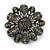 Vintage Inspired Grey Coloured Austrian Crystal Floral Brooch In Gun Metal Tone - 43mm D