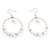 White Faux Pearls Hoop Earrings
