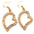 Open Crystal Heart Dangle Costume Earrings