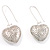 Silver Riddle Puffed Heart Drop Costume Earrings