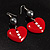 Red Plastic Crystal Heart Earrings - view 2