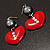 Red Plastic Crystal Heart Earrings - view 3