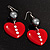 Red Plastic Crystal Heart Earrings