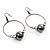 Black Tone Crystal Bead Hoop Earrings