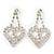 Clear Crystal Dangle Heart Earrings