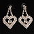 Clear Crystal Dangle Heart Earrings - view 2