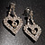 Clear Crystal Dangle Heart Earrings - view 4