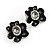 Black Floral Enamel Crystal Stud Earrings - view 3