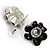 Black Floral Enamel Crystal Stud Earrings - view 4