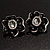Black Floral Enamel Crystal Stud Earrings - view 2