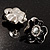 Black Floral Enamel Crystal Stud Earrings - view 6