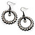 Black Tone Clear Crystal Hoop Earrings