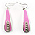 Pink Enamel Crystal Drop Earrings
