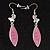Rhodium Plated Pink Glass Butterfly Drop Earrings