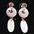 Pink Enamel Crystal Drop Earrings