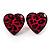 Animal Print Plastic Heart Stud Earrings (Pink&Black)