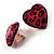 Animal Print Plastic Heart Stud Earrings (Pink&Black) - view 2