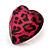 Animal Print Plastic Heart Stud Earrings (Pink&Black) - view 3
