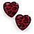 Animal Print Plastic Heart Stud Earrings (Pink&Black) - view 5