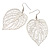 Silver Tone Filigree Leaf Drop Earrings - view 2