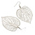 Silver Tone Filigree Leaf Drop Earrings - view 3