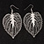 Silver Tone Filigree Leaf Drop Earrings