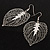 Silver Tone Filigree Leaf Drop Earrings - view 4