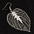Silver Tone Filigree Leaf Drop Earrings - view 5