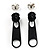 Small Black Metal Zipper Stud Earrings - view 2