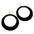 Large Black Enamel Hoop Drop Earrings (Silver Metal Finish) - 6.5cm Diameter - view 2