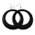Large Black Enamel Hoop Drop Earrings (Silver Metal Finish) - 6.5cm Diameter - view 4