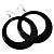Large Black Enamel Hoop Drop Earrings (Silver Metal Finish) - 6.5cm Diameter