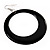 Large Black Enamel Hoop Drop Earrings (Silver Metal Finish) - 6.5cm Diameter - view 3