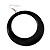 Large Black Enamel Hoop Drop Earrings (Silver Metal Finish) - 6.5cm Diameter - view 5