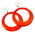 Large Bright Orange Enamel Hoop Drop Earrings (Silver Metal Finish) - 6.5cm Diameter