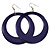 Large Deep Purple Enamel Hoop Drop Earrings (Silver Metal Finish) - 6.5cm Diameter