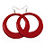 Large Red Enamel Hoop Drop Earrings (Silver Metal Finish) - 6.5cm Diameter