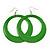 Large Grass Green Enamel Hoop Drop Earrings (Silver Metal Finish) - 6.5cm Diameter