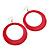 Large Raspberry Pink Enamel Hoop Drop Earrings (Silver Metal Finish) - 6.5cm Diameter - view 2