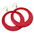 Large Raspberry Pink Enamel Hoop Drop Earrings (Silver Metal Finish) - 6.5cm Diameter - view 1