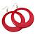 Large Raspberry Pink Enamel Hoop Drop Earrings (Silver Metal Finish) - 6.5cm Diameter