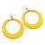 Large Bright Yellow Enamel Hoop Drop Earrings (Silver Metal Finish) - 6.5cm Diameter - view 3
