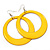 Large Bright Yellow Enamel Hoop Drop Earrings (Silver Metal Finish) - 6.5cm Diameter - view 1