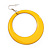 Large Bright Yellow Enamel Hoop Drop Earrings (Silver Metal Finish) - 6.5cm Diameter - view 2