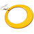 Large Bright Yellow Enamel Hoop Drop Earrings (Silver Metal Finish) - 6.5cm Diameter - view 5